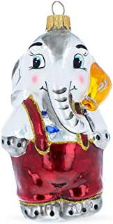 BestPysanky Elephant with Balloon Mouth Blown Glass Christmas Ornament 5.1 Inches