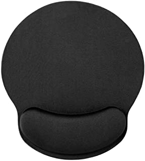Hoogood Mouse Pad with Wrist Rest Support Office Mousepad Ergonomic Design by Soft Memory Foam and Non-Slip Base Durable Comfortable Gaming Pain Relief (Black)