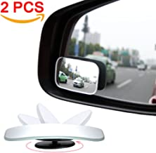 AmFor, HD Glass Convex Lens Frameless Adjustable Blind Spot Mirror for All Universal Vehicles Car Stick-on Design (2 PCS) (Rectangle), 2 Pack