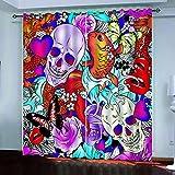 Ageeseso® Tende Stampa Digitale 3D, Teschi Colorati di Halloween Giardino Soggiorno Cucina Camera da Letto Tende Oscuranti, Tende Perforate 170(W) x200(H) cm Soggiorno Tenda