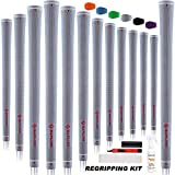 SAPLIZE Golf Grips, 13 Set with Complete Regripping kit, Standard Size, Rubber Golf Club Grip, Grey