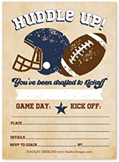25 Vintage Football Birthday Party Invitations, Huddle Up MVP Boy Girl All Star, Sport Team Game Day Theme Invite for Kid ...
