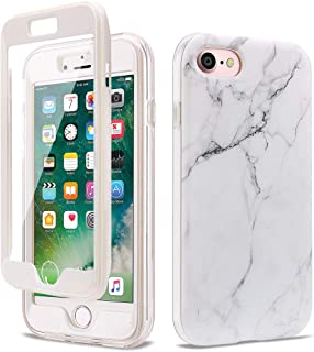 GOLINK Full Body Shockproof Protective Case with Built-in Screen Protector for 4.7 inch iPhone 7 / iPhone 8(White Marble)