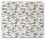 Alfombrilla de ratón para Ordenador de Acuario, Imagen Inspirada en el Tema de la guardería con Peces de Colores, Algas y Burbujas, Alfombrilla de ratón Rectangular de Goma antideslizan,20x25cm