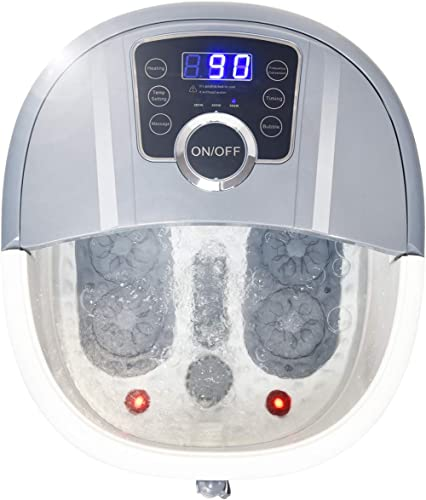 lowest Giantex Foot Spa Bath Massager with Heat, Bubbles, 16 Pedicure Shiatsu Roller Massage Points, Frequency Conversion Power Saving, Adjustable Time & Temperature, LED online sale Display, Drainage Pipe high quality (Gray) outlet sale