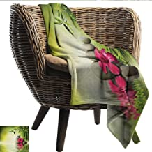 EwaskyOnline Spa Blanket Stones and Bamboo Leaves on The Water Pool Meditation Freshness Relaxing Theme Sofa Warm Bed 72