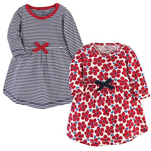 Touched by Nature Girls, Toddler, Baby and Womens Organic Cotton Short-Sleeve and Long-Sleeve Dresses, Red Flowers Long Sleeve, 4 Toddler