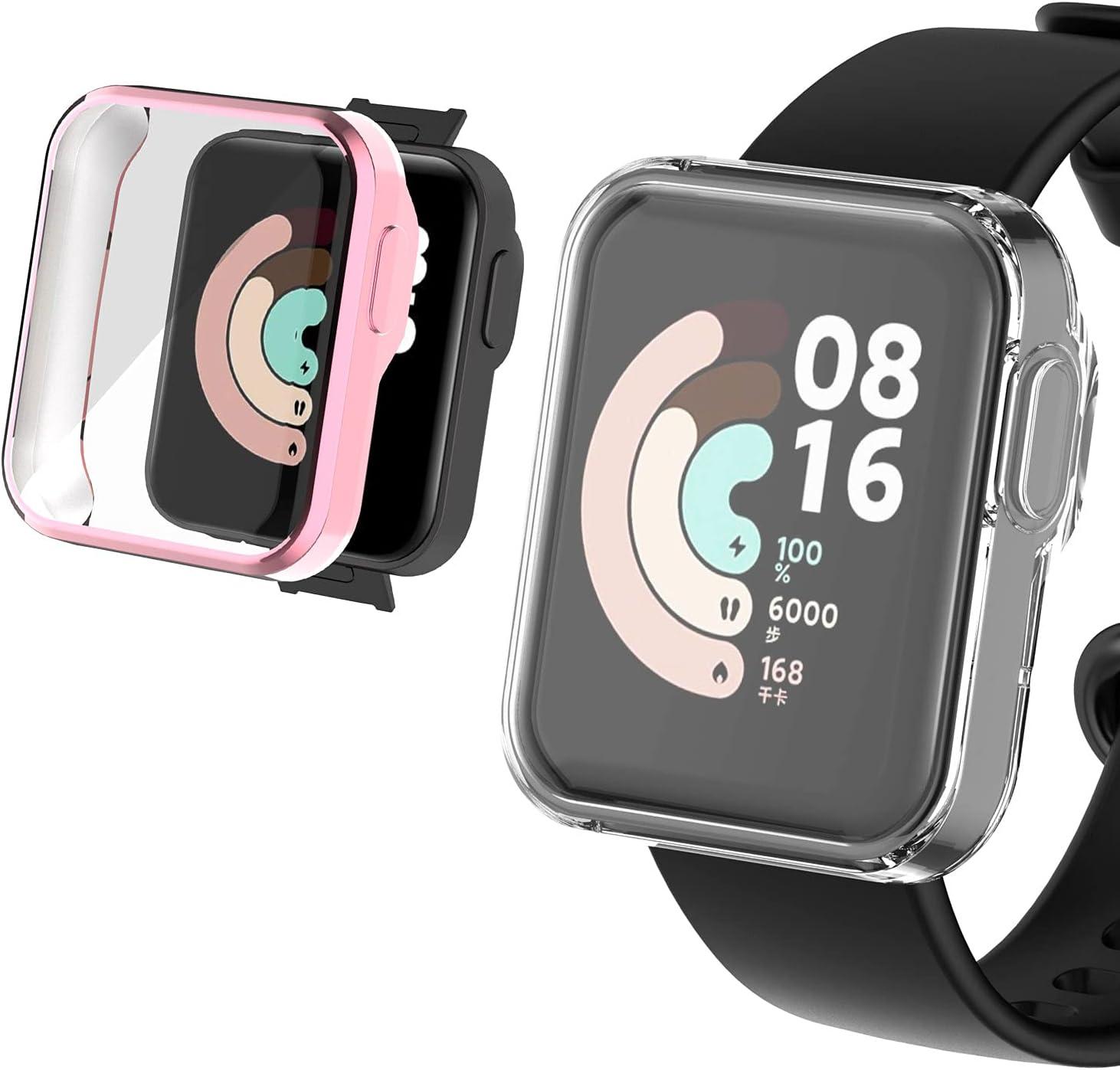 Keweni 2Piezas Funda Protectora para Xiaomi Mi Watch Lite, Funda Protectora Antiarañazos de Silicona Suave TPU para Xiaomi Mi Watch Lite (Transparente+rosa)