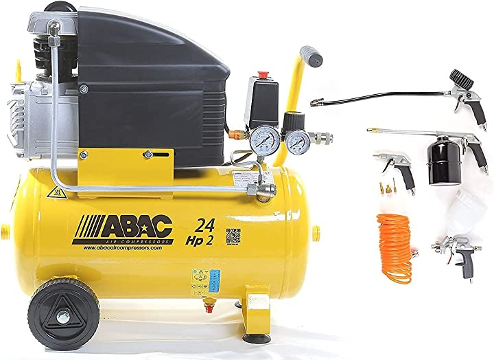 Compressore d`aria abac art. abac 1129100008 lt.24 pole position 8 bar 2hp con kit 8 pezzi B077BZGP1B