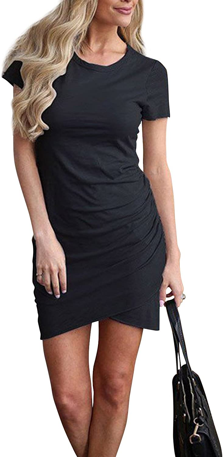 Walant Women Casual Crew Neck Short Sleeve Ruched Stretchy Bodycon T Shirt Short Mini Dress