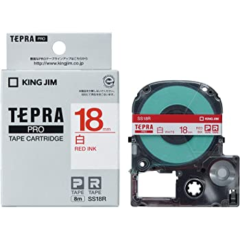 キングジム テープカートリッジ テプラPRO  SS18R 白ラベル 赤文字 18mm