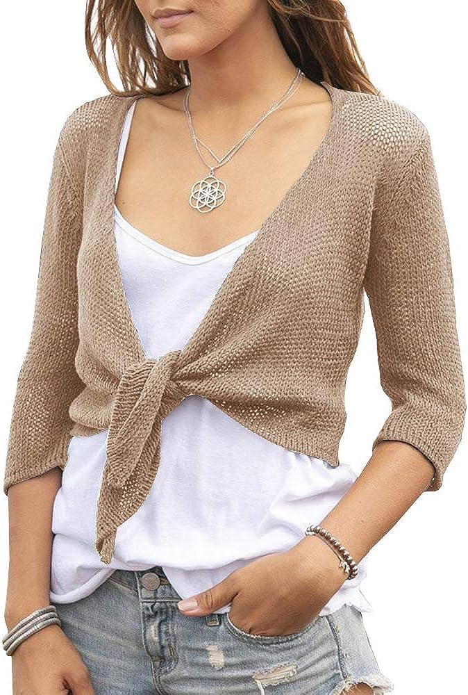 YeMgSiP Women's Tie Front Shrug 3/4 Sleeve Bolero Sheer Knotted Lightweight Cardigan Sweaters Short Shawl Tops