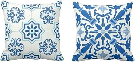 Yaya Cafe Canvas Cotton Abstract 16X16 Inches Indigo Printed Sofa Throw Cushion Covers (Multicolour) -Set of 2