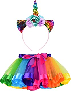 LYLKD Little Girls Layered Rainbow Tutu Skirts with...