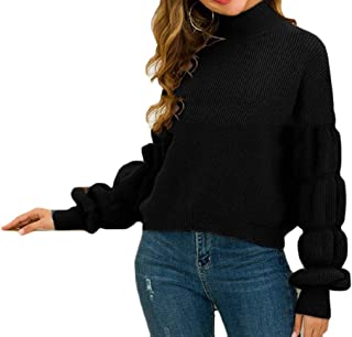Womens Casual Long Sleeve Turtleneck Blouse Cable Knit Pullover Sweater Tops