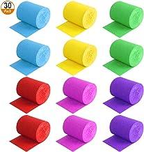 Cintas de Crepé 30 Rollos Serpentinas de Papel para Manualidades 6 Colores Pinocho Papel de Crepé para Decoración para Fiesta de Cumpleaños, Boda, Navidad 4.5cm X 9m