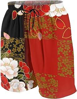 ビーチパンツ 黒 赤 レッド 可愛い 花柄 ショートパンツ 水着 ボーイズ サーフパンツ 青少年 速乾 薄い 夏 アウトドア