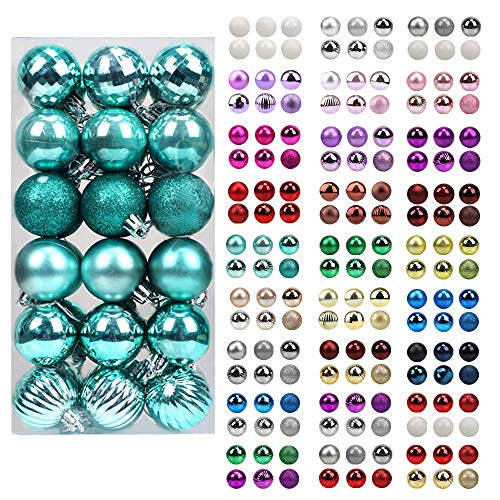 walsport Christmas Balls Ornaments for Xmas Tree, 36ct Plastic Shatterproof Baubles Colored and Glitter Christmas Party Decoration 1.6inch Set (Teal)