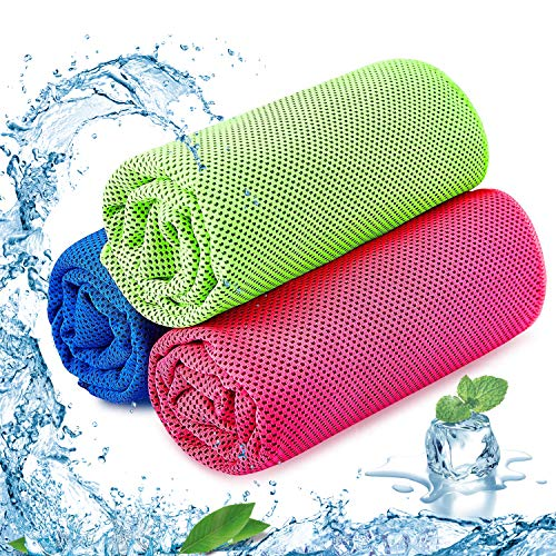 Cooling Towel Pack of 3 Sports Towels SKL Stay Cool Towel for Sports, Swimming, Women, Yoga, Workout, Athletes, Gym, Neck, Golf, Travel 40 inch x 12 inch (Blue-Red-Green)