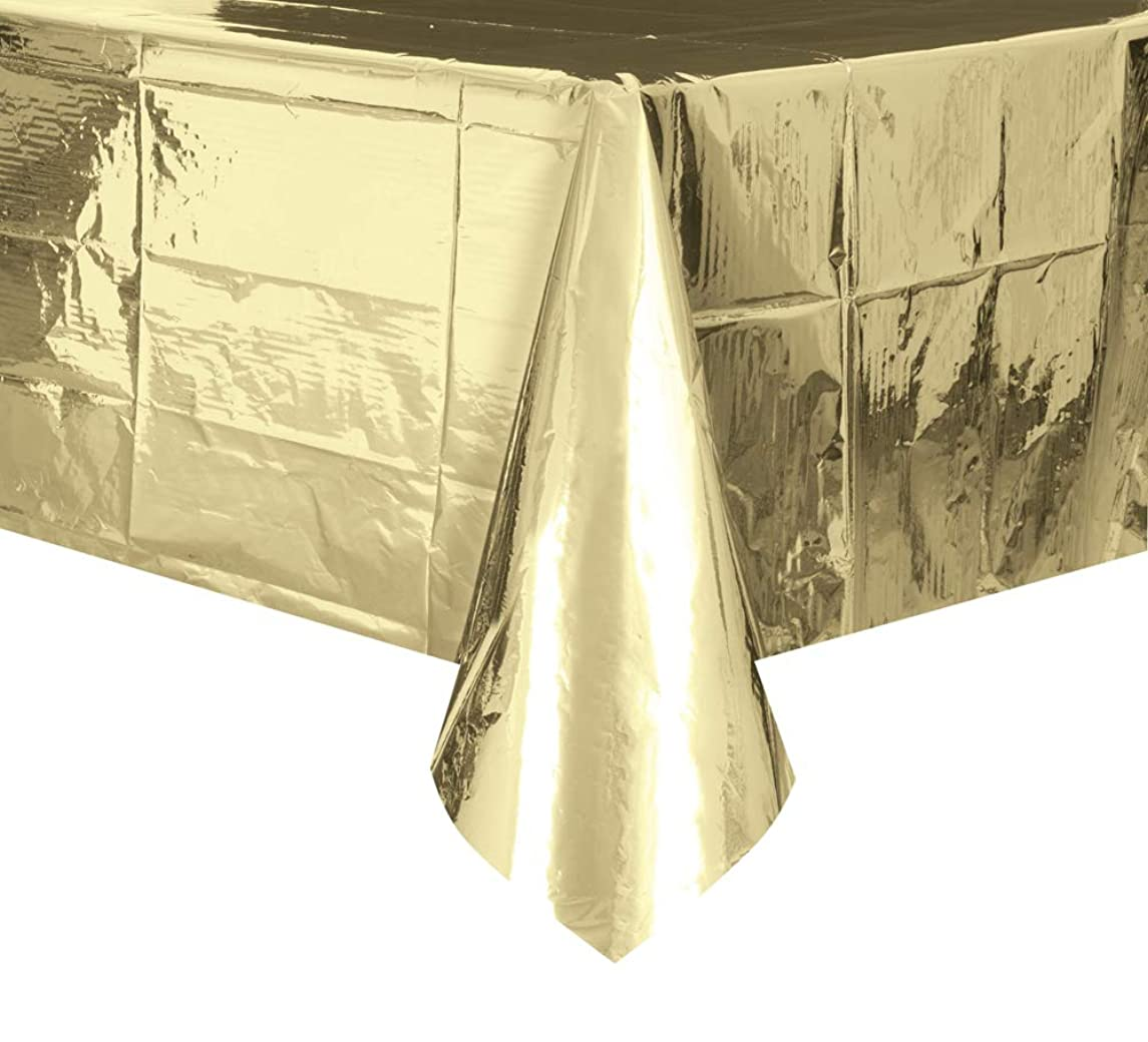 Foil Gold Plastic Tablecloth, 108 x 54