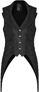 Punk Rave Mens Gothic Waistcoat Vest Black Pinstripe Visual Kei Shredded Lace