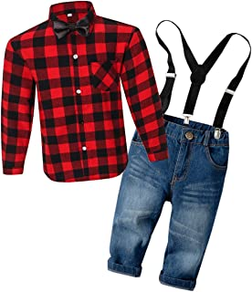 DAIMIDY Boys' Plaid Shirt & Suspender Shorts Set, 2-8 Years