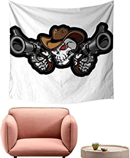 alsohome Art Tapestry Bohemian Wall Decor for Bedroom Cowboy Targets Shooting The Wild Scary Brown White Grey 70