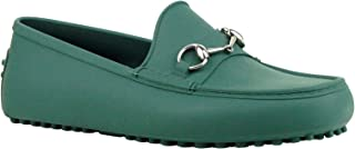 4d83bd9457e Gucci Silver Horsebit Green Rubber Loafer Shoes 386586 3020 (11 G   11.5 US)
