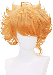 Cfalaicos Short Curly Cosplay Wig Orange Costume Wig