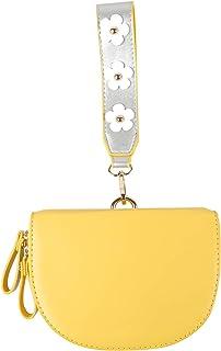 GERINLY Damen Elegant PU Leder Halbzapfen Handgelenk Geldbörse Einfarbig Floral Band Lippenstifte Reise Clutch Geldbörse