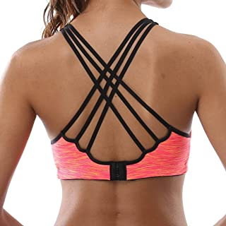 V FOR CITY Women s Crisscross Back Sports Bras Removable Padded Workout Top  Light Support Yoga Bra