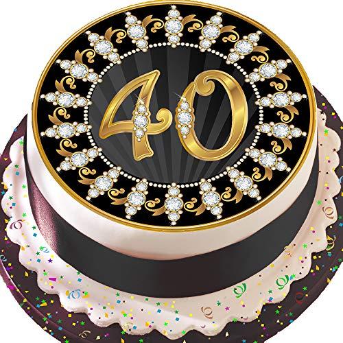 vorgeschnittenen essbare Deko-silikonformkuchendekoration, 19,1cm Runder Tortenaufsatz, schwarz und gold zum 40. Geburtstag Z11