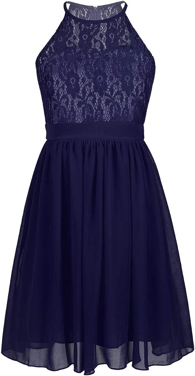 iEFiEL Sweet Mädchen Prinzessin Kleid Spitzen Blumenmädchenkleider für  Hochzeits Brautjungfern Festzug Partei Festliches Kleid Gr. 9 9