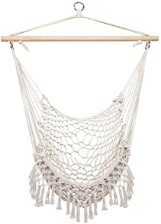 lovinland portable hammock net chair with tassels, cotton hanging rope cradle chair swing chair sky chair beige indoor outdoor hammock