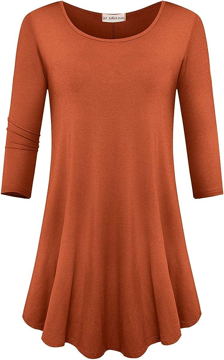 JollieLovin Womens 3 4 Sleeve Loose Cheap bargain Tunic Swing Basic Fit Tops T 2021new shipping free shipping