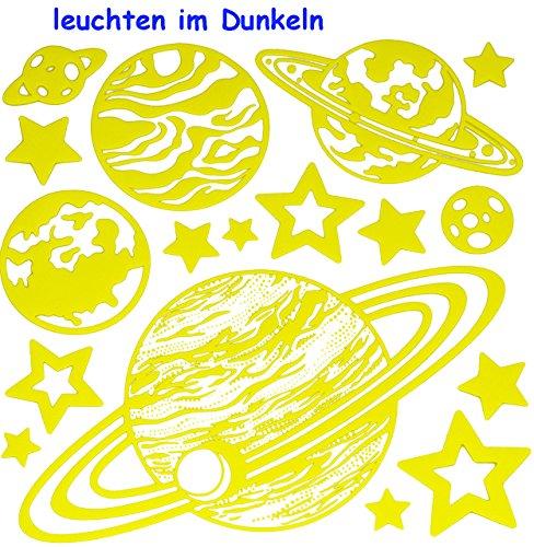 alles-meine.de GmbH 17 TLG. Wandtattoo / Fensterbild / Sticker Glowing in The Dark - Planet Erde Planeten Sterne leuchtet im Dunkeln Glow