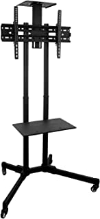 Mount-It! Mobile TV Cart on Wheels | Rolling TV Stand for Large Display Screens | Height Adjustable Flat Screen TV Stand w...