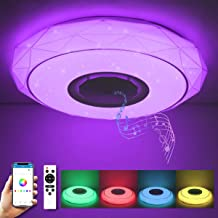 SHILOOK Led-plafondlamp, kleurverandering met afstandsbediening, 24 W, dimbare plafondlamp met bluetooth-luidspreker, app-...