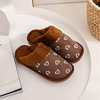 Cotton Slippers Indoor Home Non-Slip Thick Bottom Plush Men's Cotton Shoes Warm Couple Floor Cotton Slippers Warmer Soft Plush Home Shoes (Color : Coffee, Size : 38-39)