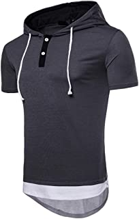 Summer Men's Youth Club Casual Patchwork Hoodie Short Sleeve Top Blouse