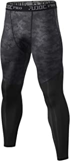 Audoc Men's Compression Pants Running Workout Tights Base Layer Leggings (Printed, Large)