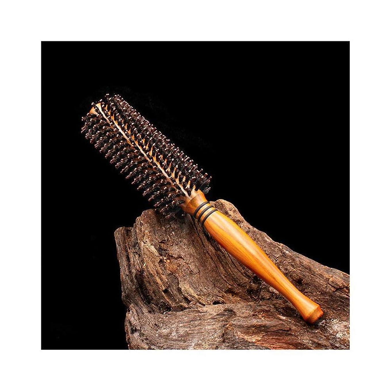 ピーブ相談香港WASAIO ヘアブラシ木製ローリングコームブロー乾燥乾燥イノシシ毛コームラウンドヘアブラシ (Design : Twill, サイズ : M)