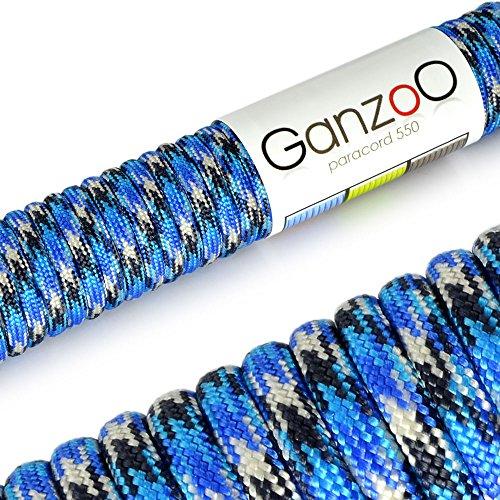 Ganzoo, corda per guinzaglio o collare per cani fai da te, i in paracord 550, 31 m, con filo da 4mm di spessore, multiuso, con una portata fino a 250kg, di colore blu, bianco, nero