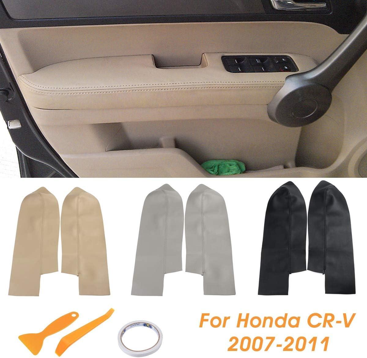 Paire de Voiture en Cuir Panneaux de Portes Avant Accoudoirs Couverture for Honda CRV 2007 2008 2009 2010 2011 2012 Noir//Beige//Gris without brand SSB-QICHEPEI Color : Beige