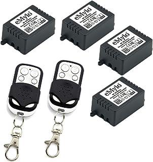 eMylo AC 220V-230V-240V 4 x 1 Canal 1000W RF Interruptor de Control Remoto inalámbrico Módulo de relé Interruptor de Aprendizaje Inteligente para Interruptor de luz DIY con transmisor de 433MHz