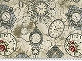 Zanderino ab 1m: Jacquard Dekostoff, Uhren-Zeit, multicolor,140cm breit