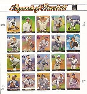 Legends of Baseball, Full Sheet of 20 x 33-Cent Postage Stamps, USA 2000, Scott 3408