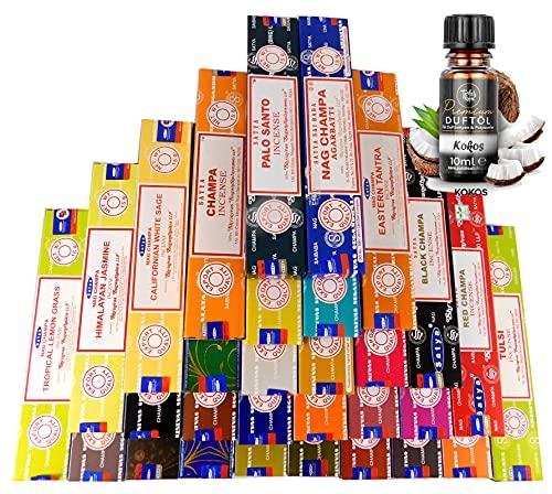 Indische Räucherstäbchen Set 30 x Satya Nag Champa, zufällige Düfte a 15g + EIN original Teufelsküche Premium Duftöl