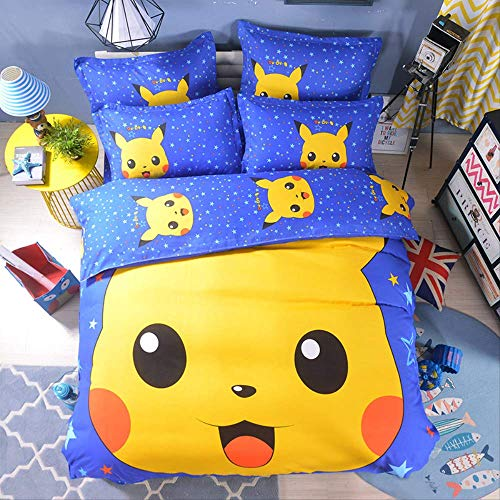 XQJHDHKAD Juego Cama 3D Pokemon Pikachu niños Funda