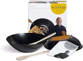 Ken Hom DKB Household UK Ltd 5 Pièces - 31 cm-Acier Carbone-Everyday-Anti-adhésif-Acier-Set Wok avec Couvercle